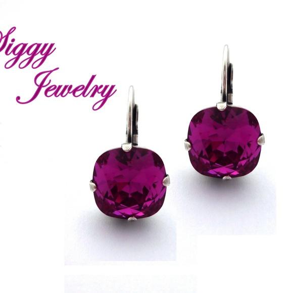 59b7cdbb8 Jewelry | Swarovski Crystal Earrings Fuchsia Cushion Cut | Poshmark